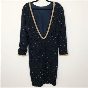 Vintage Et Al Gold Stud Dress
